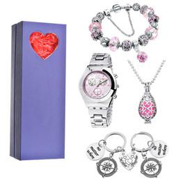 $enCountryForm.capitalKeyWord Australia - Valentine's Day Gift Luxury Stainless Steel Women Necklace Key Chain Bracelet Watch Set Lovers Ladies Clock With Box C19041202