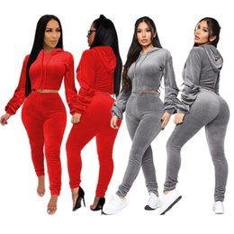 velvet short pants NZ - Winter Spring Women Sets Full Sleeve Hooded Velvet Short Top+Pants Suit Solid Two Piece Set Casual Tracksuits Fitness Outfits