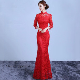 Red Lace Bride Long Cheongsam Chinese Traditional Dress Vintage Hollow Modern Wedding Qi Pao Vestido Oriental Mermaid Dresses