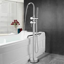 $enCountryForm.capitalKeyWord Australia - Floor Mounted Stand Bathrroom Bathtub Faucet Brass High Quality Chromed Double Handle Bath Water Mixer With Hand shower Head