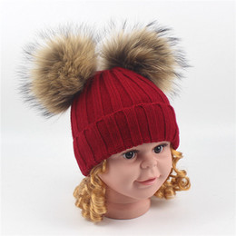 Fur Pom Hats Australia - Winter Kids Beanies Hats Baby Boys Girls Wool Knitting Hat Raccoon Fur Pom Pom Ball Caps Children Hats Warm Knitted Beanie Cap