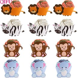 decorate baby shower cupcakes NZ - 24pcs zebra Animal Cupcake Wrappers Cup Cake Paper Jungle Theme Birthday Party Decor Kids Cake Decorating Supplies Baby Shower