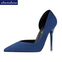 Chinese  2019 Fashionable and simple fine with high heel suede thin shallow mouth pointed end side sexy hollowed-out single shoe. manufacturers
