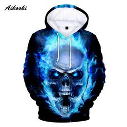 Girls pink sweatshirt online shopping - Aikooki Hot D Skull Hoodies Men Women Hoody Sweatshirts D Print Blue Fire Design Skull Hooded Boys Girls Polluvers Autumn Tops MX191121