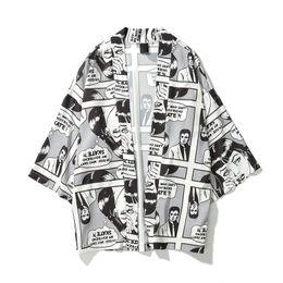 Japanese kimonos online shopping - 2019 Spring Summer Japanese Comic cartoon Men Printed Oversized Kimono Cardigan Jackets Hip Hop Streetwear Sleeve coats