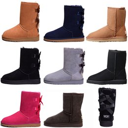 Wholesale High Quality Australia Women s Classic tall ankle Boots Womens Snow triple black pink grey boots girl Boot Snow Winter leather booties