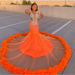 african classic dresses UK - New Arrival Orange Mermaid Prom Dresses Lace Beads Crystal Feather Formal Evening Dress 2020 Deep V Neck African Robes De Soirée