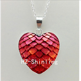 $enCountryForm.capitalKeyWord NZ - New Dragon Egg Heart Pendant Glass Game of Thrones Heart Jewelry Silver Heart Shaped Necklaces HZ3