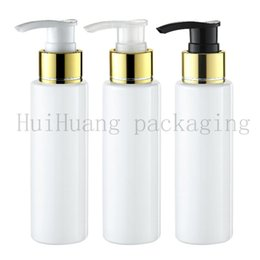 shampoo bottle gold Australia - 30pcs 100ml Empty white Lotion gold Pump Bottles,Screw Dispenser For Cosmetic Packaging Lotion Cream Pump Vial Shampoo Shower