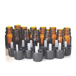 Discount amber glass bottles screw - 12pcs 1 6 Oz 5ml Amber Glass Bottles W  Euro Dropper Black Tamper Evident Cap for Essential Oil Aromatherapy Cosmetic Co