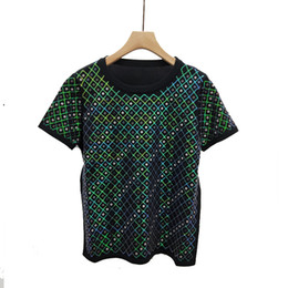 China 2019 New Fashion Hip Hop Womens T Shirts Summer Ladies Knitted Sweet Sweater Sequins Short-sleeved Ice Silk Casual Shirt T-shirt Size S-L supplier ladies sequin sweaters suppliers