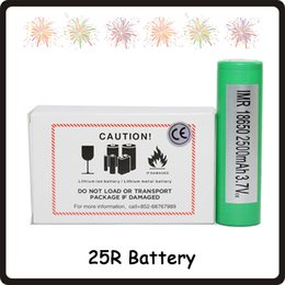 Wholesale 100% High Quality 25R 18650 INR Battery 2500mAh 3.7V 20A Rechargable Lithium Samsung Batteries Cell Fedex