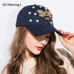 471eb05f035 GZHilovingL New Design Women s Rhinestone Hats With Bees Baseball Snapback  Hip Hop Caps Adjustable For Girls Spring Pearl Hat  179902
