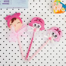 metal ballpen UK - Ballpen Plastic Lovely Pink Girls Blue Pencil Lead Fashion Office Supplie Metal Rubbion Handwork Bold Handwriting For Children Office Hot