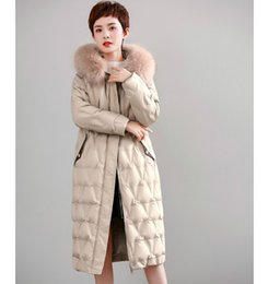Wholesale snow coats for women for sale - Group buy High End Nature Fur Hooded Duck Down Jacket For Women Winter Female Long Parka Loose Snow Wear Warm Coats Outerwear Clothes