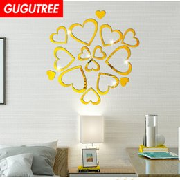 crystal mirror art Canada - Decorate Home 3D love heart cartoon mirror art wall sticker decoration Decals mural painting Removable Decor Wallpaper G-242