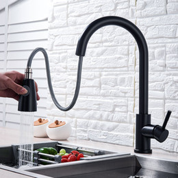pull out spray kitchen Australia - Matte Black Kitchen Faucets Pull Out Kitchen Tap Cold Hot Water Tap Single Handle Mixer Tap Deck Mounted Crane Swivel Spray faucet
