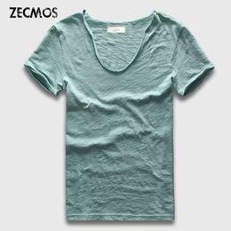 $enCountryForm.capitalKeyWord Australia - Zecmos Brand Men T-shirt Plain Hip Hop Fashion Casual Xxxl V Neck T Shirt Swag For Men Short Sleeve Man Top Tees MX190717