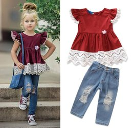 Baby Girl Summer Suits Australia - 2019 new children's clothing summer baby girls suit small flying sleeves cute t shirt + hole jeans kids tops pants set
