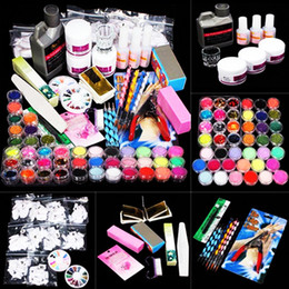 Wholesale Professional Nail Art Kit Sets Manicure Set Nail Care System Acrylic Powder Liquid Glitter Glue Toes Separators Brush Tweezer Primer Tips