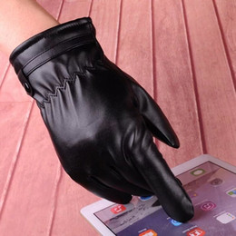 $enCountryForm.capitalKeyWord Australia - Fall and Winter Men's PU Skin Touch Screen Playing Mobile Phone Fashion Plushing Warm Wind-proof Long Finger Driving Cycling Gloves