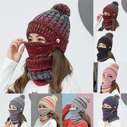Crochet Ski Mask NZ - Womens Crochet Knitted Woolly Hat With Scarf Mask Beanie Warm Fleece Ski Cap winter hats for Mature person