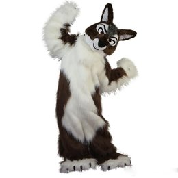 $enCountryForm.capitalKeyWord UK - New high quality Long hair brown Wolf Mascot costumes for adults circus christmas Halloween Outfit Fancy Dress Suit Free Shipping