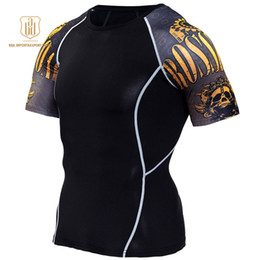 Wear Compression Shorts Australia - Running Shirt Men Compression Tights Fitness Top MMA Rashgard Anime 3D T Shirt Wolf Skull Short Sleeve Men Gym Wear Sportswear A2