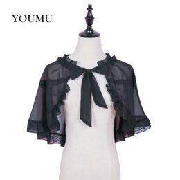 b4f910d567 Women Rufflef Chiffon Lace Cape Bolero Japanese Shrug Jacket Stole Tippet  Wrap Shawl Gothic Lolita Vintage Solid Black 916-747