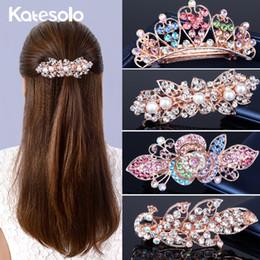 Flower Girl Rhinestone Hair Clips Australia - Luxury 19 Styles Crystal Rhinestone Hair Clip Hair Accessories Girl Barrette Wedding Crown Flower Hair Jewelry OL For Women D19011103