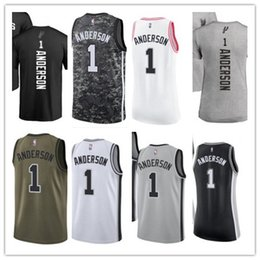 custom best 2018 Basketball Wear Men s San Antonio Spur 1 Kyle Anderson  Yellow Jersey - City Edition Basketball Jerseys cb1a7b179
