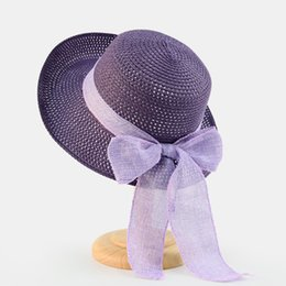 elegant purple hat Canada - Fashion Design Summer Casual Vintage Elegant Classic Straw Hat Boater Sun Hat Beach Hat with Bow for Women