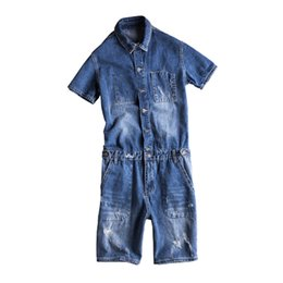 japanese overalls NZ - Summer New Japanese Denim Shorts Youthful Handsome Mens Overalls Wash Tooling Jumpsuit Couple Bib