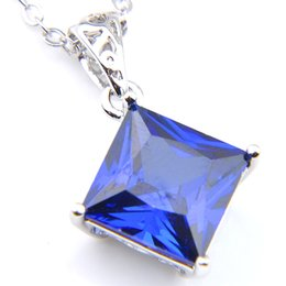 $enCountryForm.capitalKeyWord Canada - High Quality 10Pcs New for Holiday Gifts Square Blue Crystal Zirconia Pendants 925 Sterling Silver Wedding Party Pendants Necklaces With Cha