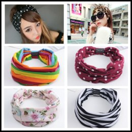 wide headbands for yoga Australia - New Women Turban Rainbow Dot flower Print Wide headband For Girls Cotton Fabric Headwrap Yoga Headwrap Bow hairband For Ladies