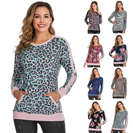 Wholesale l o t apparel online – design Women Long Sleeve Shirts Leopard patchwork Casual Tops with pocket T Shirt Sexy Tees O neck Blouses Blusas Apparel Tee LJJA3279