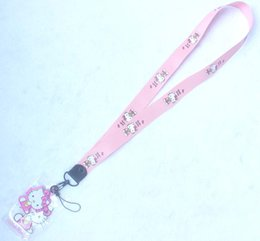 $enCountryForm.capitalKeyWord NZ - Retail 10 pcs pink new anime hello kitty Card Holder Identity Badge with Lanyard Neck Strap Card Bus ID Holders With Key Chain