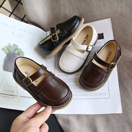 boys korean shoes Australia - Todder Shoes 2020 New Fashion Korean Children's Boys Spring Wide Pu Leather Breathable Rubber Shoes Kids Shoe Girls Baby Shoe