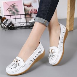 lace cutout platform Australia - 2020 New Summer Leather Women's Moccasins Platform Shoes Soft Boat Shoes Fashion Cutout Flats Casual Low Heel Nurse Shoes