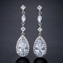 $enCountryForm.capitalKeyWord Australia - Teardrop Bridal Earrings Crystal Drop Long Wedding Earrings Cubic Zirconia Wedding Jewelry Bridesmaid Stud Earrings Silver Rose Gold