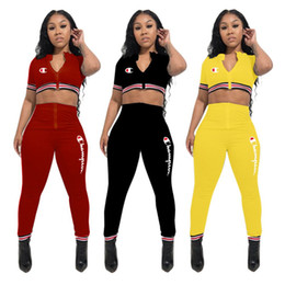 spring joggers wholesale NZ - Womens Champion Letter Tracksuit Short Sleeve Zipper Hoodies Crop Tops+ High Waist Skinny Pants 2 Pieces Sportwear Jogger Outfits sale