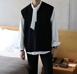 Sweater Man Winter Korean Australia - Oversize Sweater Men Pullovers Vest Sleeveless Sweaters Men 2019 Autumn Winter Jacket Korean Style Camisolas Homens Clothes MY14