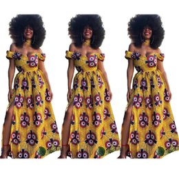 High Fashion Maxi Dresses Australia - Free Ship Tribal Style Women Fashion African Totem Dashiki Dress Casual High Waist Strapless Maxi Dresses