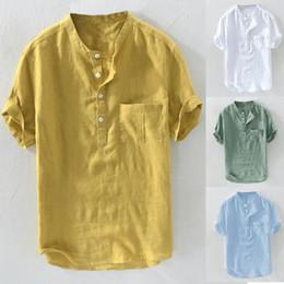17e8cd059d78 2019 Casual Shirts Mens Dress Shirt Short Sleeve Henley Collar Slim Fit Summer  Men Tops Summer Social Masculina 4XL Beach Camisa