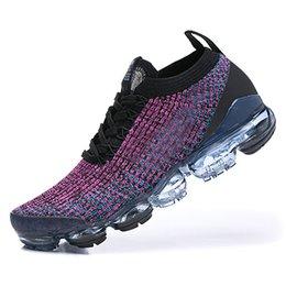 Nike Air Vapormax Flyknit 3.0 2019 Hot Sale respirável Sports Calçados Homens Mulheres Triplo Preto Todos AirCushion Amortecimento Roller Shoes tamanho 36-46 em Promoiio
