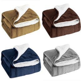 Chinese  New Sherpa Fleece Blanket Twin Double Layer Plush Throw Blanket Soft Microfiber Bed Soft Blanket 130*160cm 4Color Christmas Gifts HH7-1973 manufacturers