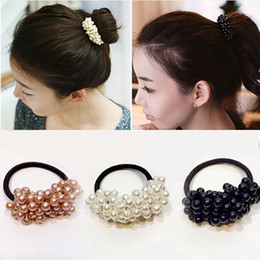 Pearl Bead Elastic Australia - M MISM Fashion Hair Accessories Solid Color Semi-circle Pearl Beads Rubber Headbands Women Ponytail Holder Elastic Hair Bands