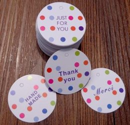 100pcs Dots Paper Gift Box Tags Round Thank You Merci Wedding Party Favor Carton Cardboard Packing Decor Paper Cards Hang Tags Event & Party Home & Garden