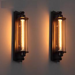 Modern design de estilo industrial lâmpada de parede de ferro preto American Loft restaurante pintura decoração LED E27 luz do tubo quente 220V luz em Promoção