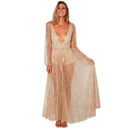 a36713ce005 Langarm gold glitzer kleid online-Sexy Frauen Glitter Maxi Kleid Sheer Mesh  Plunge V-